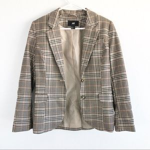 H&M Tan Check Plaid Elbow Patch Blazer
